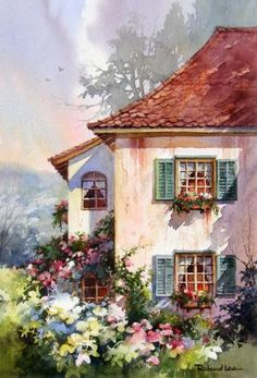 EUROPE - Green Shutters Watercolor Painting of Switzerland , Painting of a house with green shutters in Switzerland - Watercolor Paintings by Roland Lee