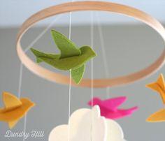100 Merino Wool Felt Nursery Mobile  EcoFriendly  by dundryhill