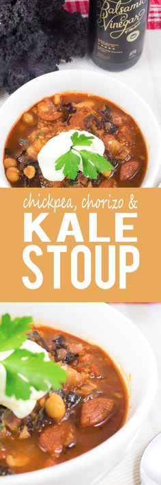 Chickpea, Chorizo and Kale Stoup - A super easy, no-fuss, quick to make and healthy soup! Super cute little chickpeas, slices of spicy chorizo and roughly torn pieces of purple kale, hearty and delicious!!