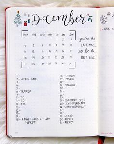 Monthly Goals and Practicing Self-Love : December Goals - Bullet Journal Monthly Spread Bullet Journal December, Bullet Journal Monthly Spread, Bullet Journal Notebook, Bullet Journal Ideas Pages, Bullet Journal Inspo, Bullet Journal Layout, Journal Pages, Bujo Monthly Spread, Bullet Journals