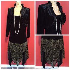 Downton Abbey Great Gatsby 1920s Flapper Charleston Drop Waist Velvet Dress s M   eBay