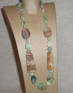 PREHNITE JASPER and JADE Gemstone Necklace 20 by PastsPresents, $18.00