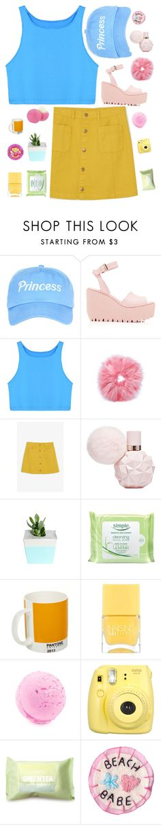 """trynna hide it, fake it"" by yasyadesinger ❤ liked on Polyvore featuring Opening Ceremony, Monki, Eos, Simple, Pantone, Nails Inc., Fujifilm and Forever 21"