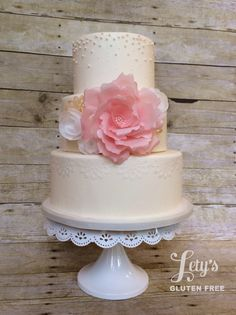 """- 6/8/10 with wafer paper peony and roses. Bottom tier has wafer paper """"lace"""". Thanks for looking!"""