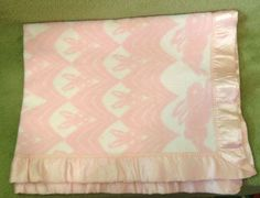 """Vintage Esmond Pink Bunny Rabbit Acrylic Baby Blanket Nylon Binding 48""""x36"""""""