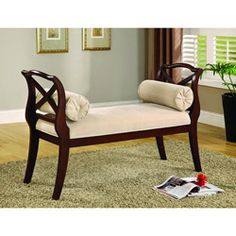 @Overstock - All eyes will notice the beautifully silhouette of the Bella bench. Every inch of this bench is crafted with solid wood and soft fabric upholstery.http://www.overstock.com/Home-Garden/Bella-Elegance-Espresso-Sette-Bench/5675926/product.html?CID=214117 $260.99