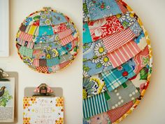 Under the Sycamore--too cute. using embroidery hoop and scraps of material (or quilt pieces)
