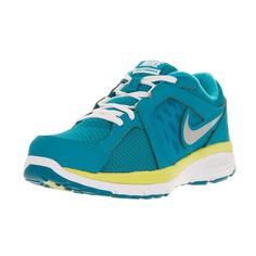 Nike Kids' Dual Fusion, Silver, White, and Electric Yellow Running Shoes