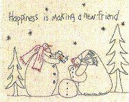 snowman gatherings patterns   Happiness is Making a New Friend-snowmen,stitchery,pattern