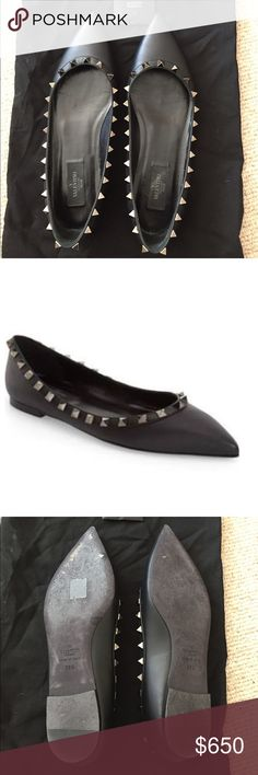 Valentino Rockstud Flats - Black size 8.5 Worn twice! In excellent condition. See pictures for details. Comes with extra studs. Guaranteed authentic but my friend whom I'm selling them for misplaced the tags and dust bag in her massive and amazing closet; but you'll get a Chanel dust bag as a consolation prize! Valentino Shoes Flats & Loafers