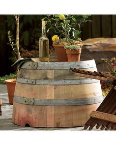 These reclaimed wine barrels look great as outdoor tables! Get it here: http://www.bhg.com/shop/vivaterra-wine-barrel-outdoor-table-p50b8636ee4b0160d46ad5f3a.html