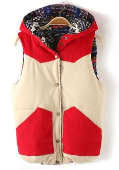 some DIY potential for a plain, thrifted puffer vest? ... red patchwork corduroy vest