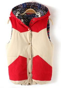 ++ red patchwork corduroy vest