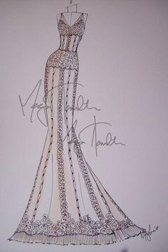 Ok I want this...a custom wedding dress sketch!! Yes please :)