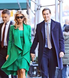 Ivanka Trump and her husband, Jared Kushner, leave their New York residence on their way to Washington for her father's inauguration.  The emerald green dress and matching coat that Ivanka Trump wore for the opening ceremonies of Donald Trump's inauguration made waves across the Internet.  Yahoo Style