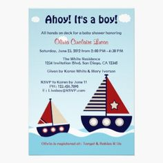 Nautical Sailboat Baby Boy Baby Shower Invitation Cards