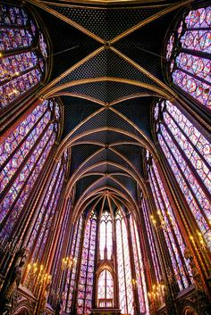 The stunning interior of La Sainte-Chapelle (The Holy Chapel), Paris.