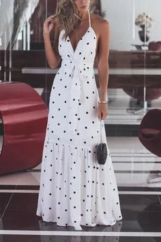 Sum All Chic, Shop White Polka Dot Sashes Ruffle Halter Neck Backless Deep V-neck Elegant Maxi Dress online. Elegant Maxi Dress, Sexy Maxi Dress, Boho Dress, Dress Skirt, Bodycon Dress, Summer Maxi Dress Outfit, Knot Dress, Linen Dresses, Blue Dresses