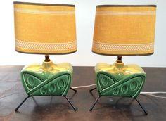 Atomic Mid Century Modern 50's Sputnik Boudior Lamps Lights Original Shades