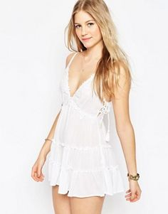 ASOS Tiered Cami Romper with Lace Up Side