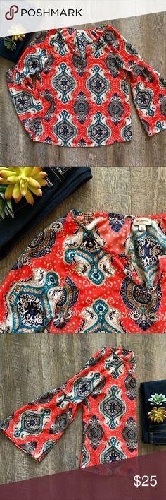 Bell Sleeved Cremiuex Shirt Gorgeous patterned bell sleeved Cremiuex shirt! In excellent condition! Size XS. Cremiuex Skirts