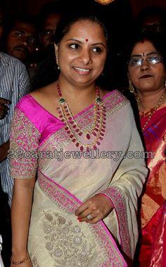 Kavitha Kalvakuntla in Diamond Ruby Chain Indian Jewellery Design, Jewelry Design, Designer Jewellery, India Jewelry, Gold Jewelry, Ruby Jewelry, Jewelry Sets, Bridal Jewelry, Jewelry Necklaces