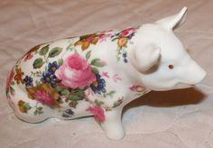 Crown Bone China England Pink Roses Flowers Floral PIG Figurine | eBay