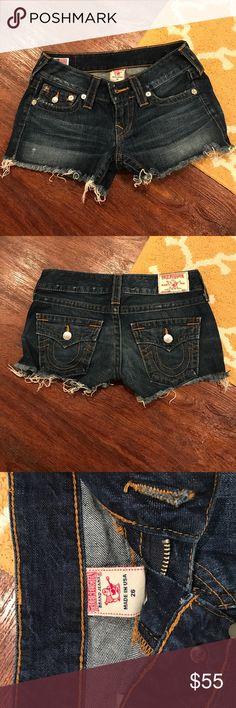 True Religion Jean Shorts Dark denim True Religion cutoffs. Great condition. True Religion Shorts Jean Shorts