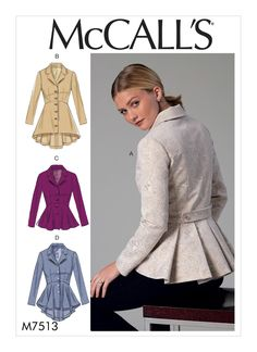 McCall's 7513 Misses' Notch-Collar, Peplum Jackets sewing pattern Coat Patterns, Clothing Patterns, Dress Patterns, Vogue Patterns, Fashion Patterns, Blazer Pattern, Jacket Pattern, Jumpsuit Pattern, Collar Pattern