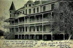 Oak Cliff Hotel, Dallas - built in 1889 by T. L. Marsalis, pioneer in Oak Cliff development. It once was known as the Cliff Hotel, and for many years, was a Dallas showplace. It contained one of the largest public dining rooms in the Southwest. Located at Jefferson and Crawford.