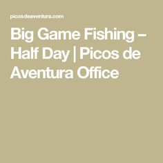 Big Game Fishing – Half Day   Picos de Aventura Office