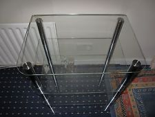Glass shelf unit with chrome, 4 Tier display stand, suitable for TV , Hi Fi. etc