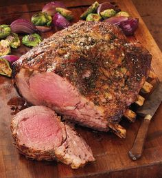 Typically found only in the finest restaurants, our Stock Yards® bone-in Prime Rib Roast is cut from USDA-certified Prime beef. It is beautifully marbled, hand-trimmed, and expertly aged for days for melt-in-your-mouth tenderness and unsurpassed flavor. Prime Rib Roast Recipe Bone In, Bone In Rib Roast, Prime Rib Recipe, Prime Rib Bone In, Rib Recipes, Roast Recipes, Cooking Recipes, Healthy Recipes, Game Recipes