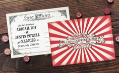 Get Ready for the Event of the Year! Two Ring Circus Spectacular Vintage Carnival Save-the-Date Postcards by Royal Steamline