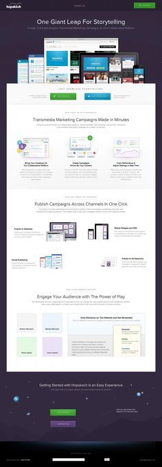 Lovely crisp landing page for Hopskoch - A Collaborative Platform that allows you to Create, Track and Analyze Transmedia Marketing Campaigns. Easily in the Most Loved category if there was a responsive adaption.