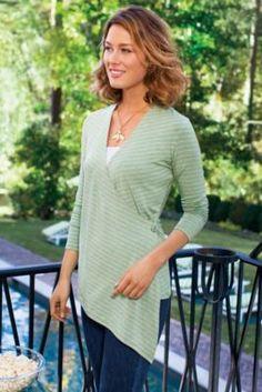 Portofino Top - Womens French Sailor Shirt, Striped Drape Top   Soft Surroundings nice cross detail for knit top