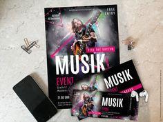 Unsere Musik-Vorlagen jetzt bestellen.  Wenn du dein Event geplant hast, nutze die kostenlosen grafisch erstellten Vorlagen von OnlineprintXXL.  Hier wirst du fündig! Flyer, Deadpool Videos, Video Game, Artwork, Books, Design, Musik, Concert, Templates