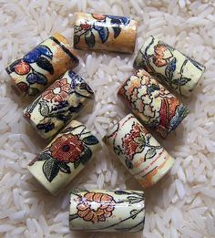 Handmade Paper Beads Floral Tea Cup  Tube Style Beads by deeann7, $6.00