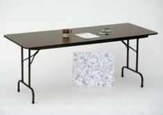 Correll Cf1896M-15 Melamine Top Folding Tables - Fixed Height - Gray Granite by CORRELL. $109.34. Economical choice for light duty home and office use.Standard 29 inch fixed height Melamine top on .625 inch high density particle board core 1 inch 18ga. Steel pedestal legs .625 inch One-piece steel apron Mar-proof plastic foot caps and edge molding Automatic lock-open mechanism Dimensions: 18 x 96