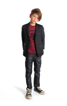 Boys fall style idea: Pair a sharp blazer with a graphic tee and skinny pants. For more cool boys fashion, check out appaman.com.