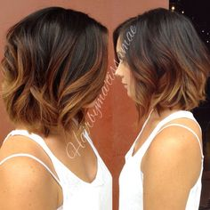 Ombre Balayage Short Hair Diy (ombre hair for brunettes wavy bobs) Hair Color Balayage, Hair Highlights, Short Balayage, Color Highlights, Hair Bayalage, Balayage Lob, Balayage Hairstyle, Brunette Hair, Diy Hairstyles