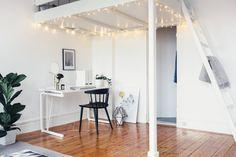 Vardagsrum loft skrivbord våningssäng