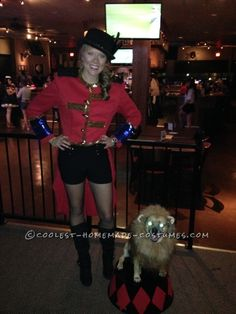 Cool Dog and Owner Couple Costume: Lion Tamer and Her Ferocious Lion!...