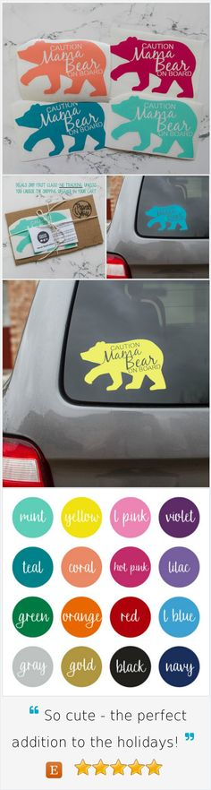 Car Decal | Caution Mama Bear On Board Car Decal  COLOR| Vinyl Sticker | Baby on Board                                                                                                                                                                                 More