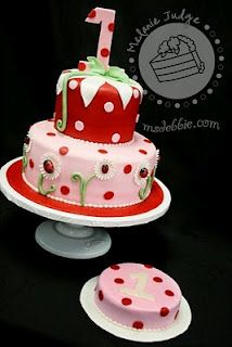 """Pink and red lady bug cake ( Love the mini """"smash"""" cake!)"""