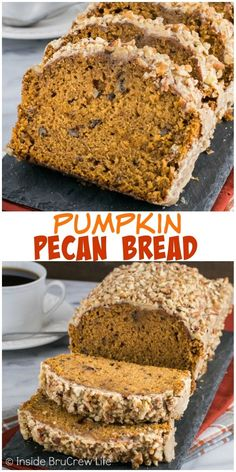 This easy pumpkin bread is loaded with pecans and topped with a sweet praline glaze. It is the perfect fall sweet bread!