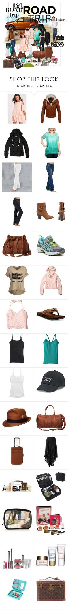 """""""lol road trip"""" by caroline-buster-brown ❤ liked on Polyvore featuring LE3NO, Hollister Co., Kim Rogers, Olivia Miller, Diane Von Furstenberg, Asics, Clarks, Aéropostale, Patagonia and Aerie"""