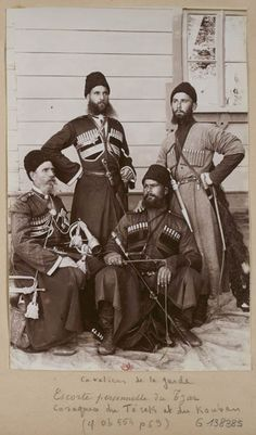 Four members of the Tsar's Imperial Russian Cossack bodyguard.