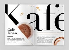 "Magazine layout. I really like the triangle in the corner overlapping the layout. Perhaps it's the way it flows with the K in ""Kafe"" that helps make it work so well."