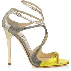 Acid Yellow, Dark Moss and Marble Metallic Elaphe Mix Strappy Sandals... (€795) ❤ liked on Polyvore featuring shoes, sandals, heels, strappy shoes, jimmy choo sandals, metallic heel sandals, strap shoes and metallic shoes